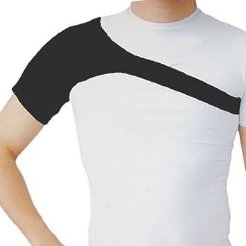 eDealMax Deporte de Los Hombres Negro Solo hombro de neopreno elástico apoyo de la ayuda Abrigo
