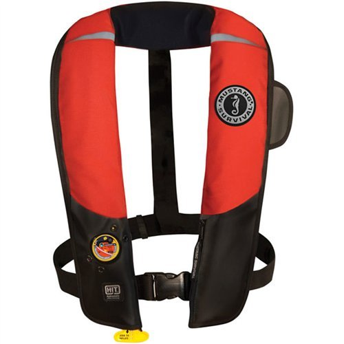 - Mustang Survival Corp Inflatable PFD with HIT (Auto Hydrostatic) and Bright Fluorescent Inflation Cell, Red/Black