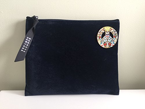 BARNEYS NEW YORK Studio Job Xo: Love Peace Joy Pin and Velveteen Navy Blue Cosmetic Pouch - LIMITED EDITION