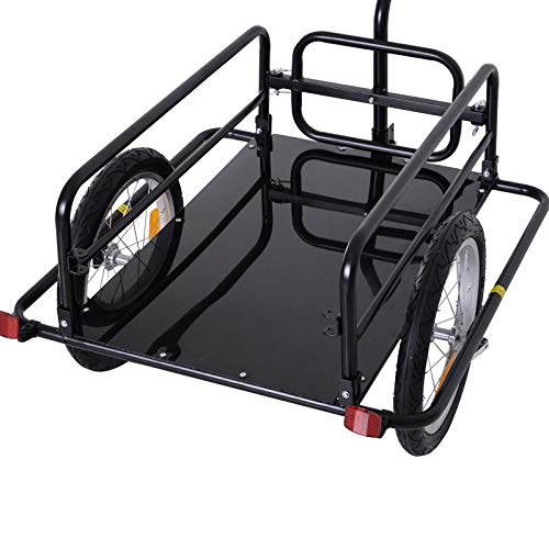 Bike Cargo Storage Cart and Luggage Trailer with Hitch Folding Bicycle Black by Caraya (Image #5)