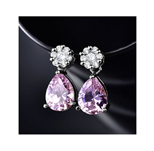 Colorful Topaz Women's Wedding Teardrop Dangle Earrings Jewelry (Pink) (Topaz Dangling Pink Earring)