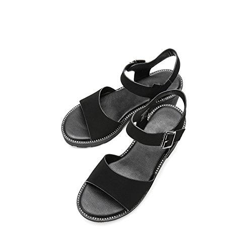 Nero moda Sandali alla 36 Pantofole estivi tacco a DHG donna tacco da Sandali Tacchi piatti alti con casual Sandali basso basso qcRnnWH