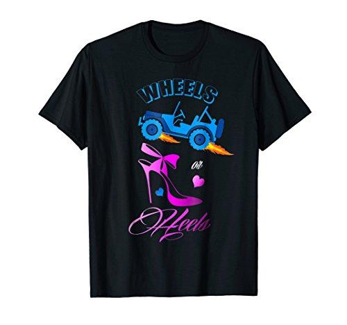 (Cute Wheels or Heels Baby shower gender reveal party T-Shirt)