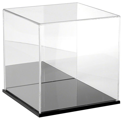 Plymor Brand Clear Acrylic Display Case with Black Base (Mirror Back), 10'' x 10'' x 10'' by Plymor