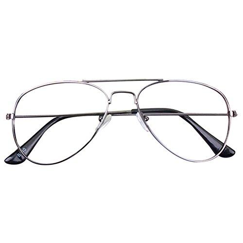 Cadre de lunettes pour bébé Aviator - Enfants Lunettes de vue pour enfants Geek / Nerd Retro Reading Eyewear Pas de lentilles pour les filles Garçons - Juleya gris Pas de lentille