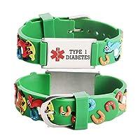 linnalove-Cartoon Medical id Bracelet for boy & Girl,Kids-Pre-Engraving Type 1 Diabetes