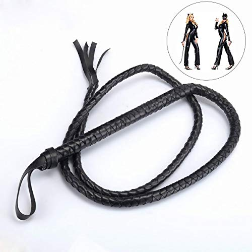 BinaryABC Catwoman Whip,Leather Whip ,Handle Whip for Halloween Costume Accessories 1.6m(Black) -