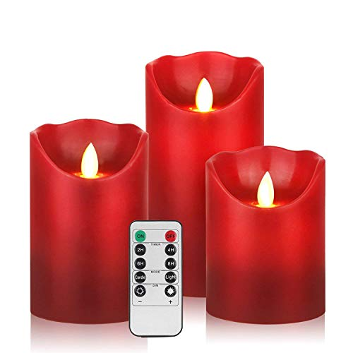 drea Flameless Candles 3 Pack Set Drip-Less Real Wax Pillars Include Realistic Dancing LED Flames 10-Key Remote Control 24-Hour Timer Function (Burgundy)