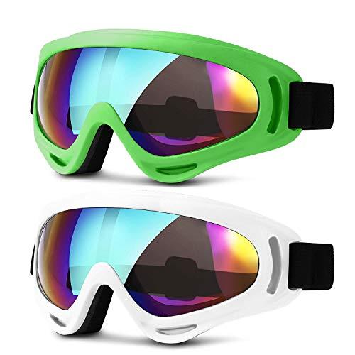 HEETA 2-Pack Ski Goggles, Windproof Anti-Glare Snowboard Glasses for Kids Men Women Boys Girls, Anti-Fog UV Protection for Skiing Snowboarding Motorcycle Bicycle Climbing