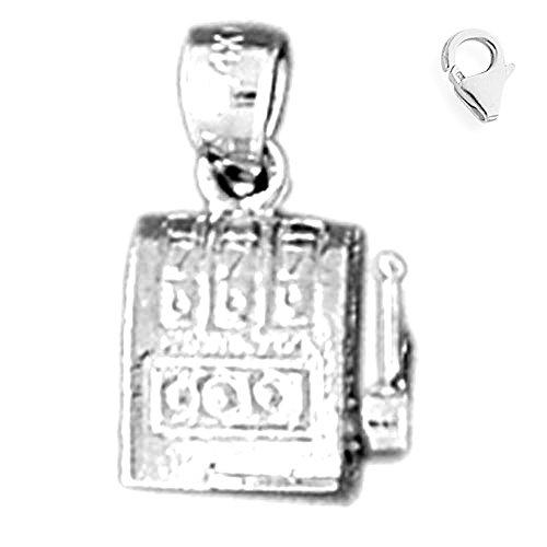 Jewels Obsession Slot Machine Charm | 14K White Gold Slot Machine Charm Pendant - 15mm