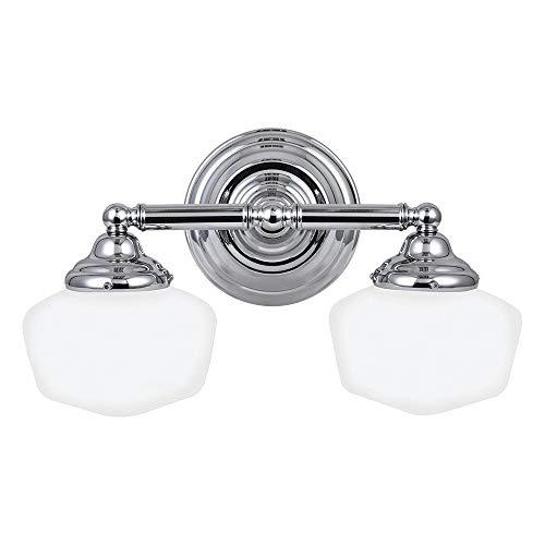 Sea Gull Lighting 44437-05 Academy Two-Light Bath or Wall Light Fixture with Satin White Glass, Chrome Finish (Renewed)