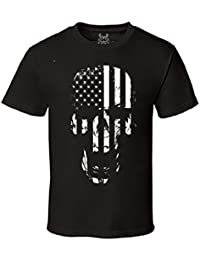 Gs-eagle Men's Printed Skull American Flag Graphic T-Shirt
