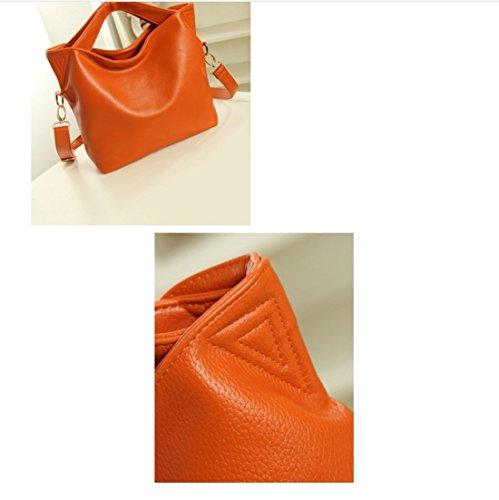 Rrock Shoulder Bolso Diagonal Portátil Para Mujer Bolso Para Bolso Cuatro Colores Opcionales,Black Orange