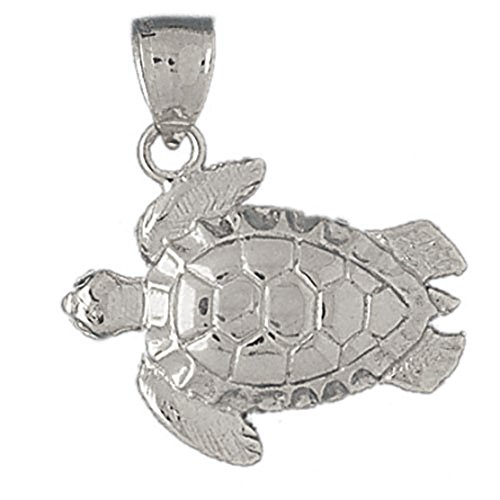 14k White Gold Turtles Pendant (27 x 31 mm) by K&C