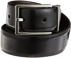 Calvin Klein Men's Smooth Leather Reversible Feather Edge Belt,Black/Brown,34
