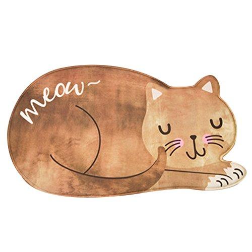 Cute Cat Cartoon Pattern Bathroom Area Rug Simple Bedroom Rug Bedside Rug Living Room Rugs Washable Durable Door Mat Floor Mat (5080, Orange)