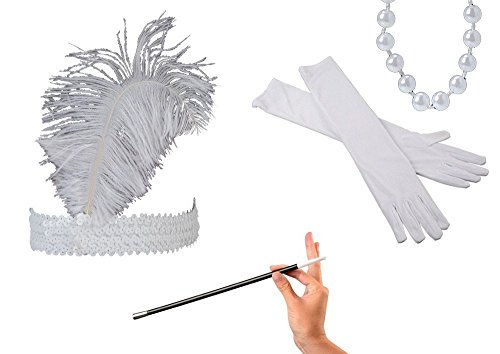 Kid Fun Jazz Era 1920's Costume White Ostrich Feather Head Band, Long Gloves, White Beaded Necklace & Cigarette Holder Bundle Set -