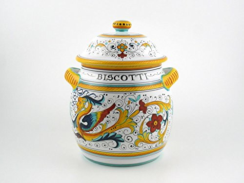 Hand Painted Italian Ceramic 10-inch Round Biscotti Cookie Jar Raffaellesco - Handmade in Deruta by Fima