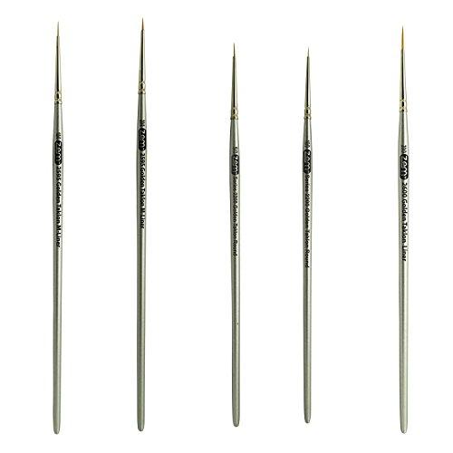 ZEM BRUSH Golden Taklon Mini Detail Brush Set Liner 20/0, Mini Liners 20/0, 10/0, Details 10/0, ()