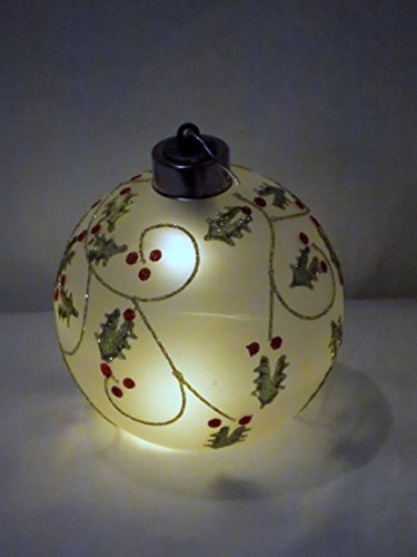4'' Decorative Holly Leaves & Berries Glass LED Sphere Ball Orb Ornament Light by Pier One