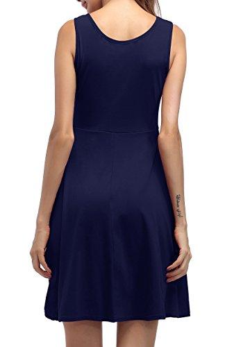 ... ZJCTUO Damen Ärmelloses Beiläufiges Strandkleid Sommerkleid Tank Kleid  Knielang Dunkelblau 5GfyN d146ace6cb