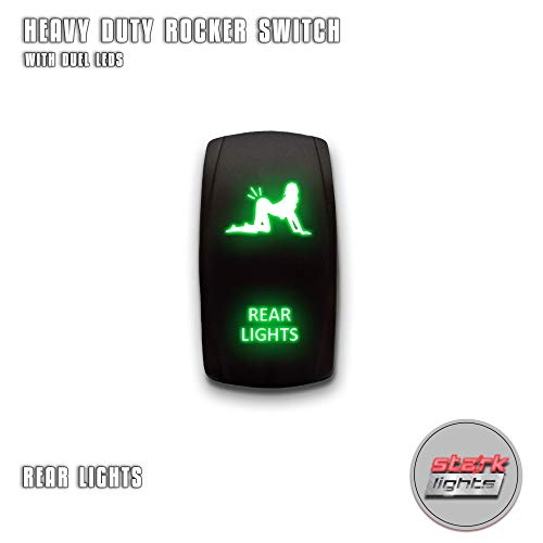 REAR LIGHTS - Green - STARK 5-PIN Laser Etched LED Rocker Switch Dual Light - 20A 12V ON/OFF
