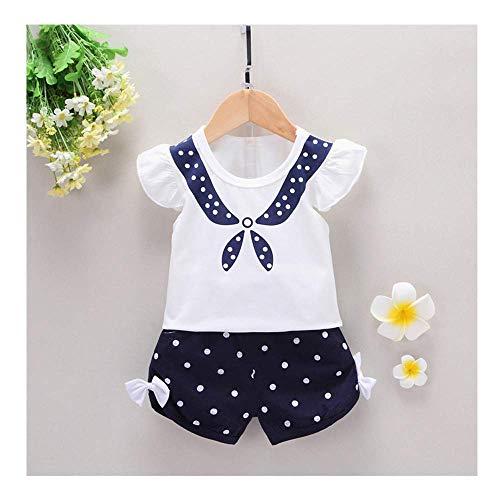 (Fashion Toddler Kids Baby Girls Clothes Outfits Dot Print Ruffle T-Shirt Tops and Dot Bow Shorts Pants 2PC Sets Navy 12-18 M)