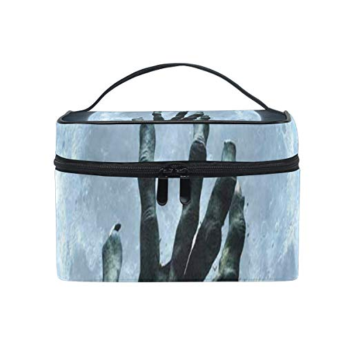 Makeup Bag Halloween Zombie Hand Grave Full Moon Cosmetic Bag Portable Large Toiletry Bag for Women/Girls Travel