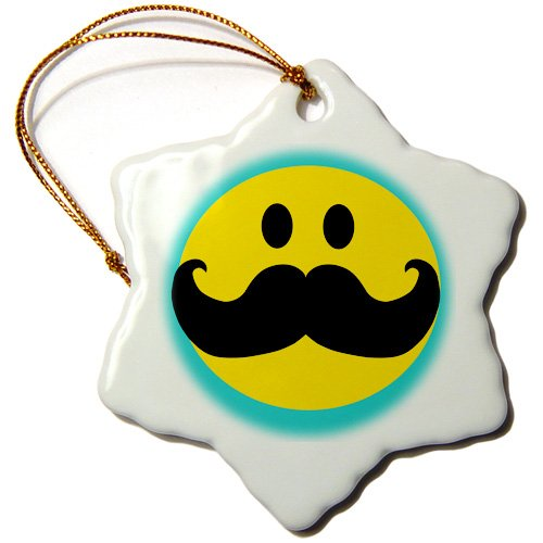 orn_113096_1 InspirationzStore Smiley Face Collection - Yellow Smiley face with black mustache - teal blue turquoise - moustache Fun fancy gentleman cartoon - Ornaments - 3 inch Snowflake Porcelain Ornament