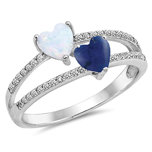 925 Sterling Silver Faceted Natural Genuine Blue Tanzanite Heart Ring Size 6