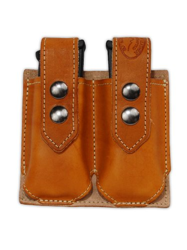 Barsony Saddle Tan Leather Double Magazine Pouch for Ruger SR9 SR40 (Ruger Sr40 Ammo)