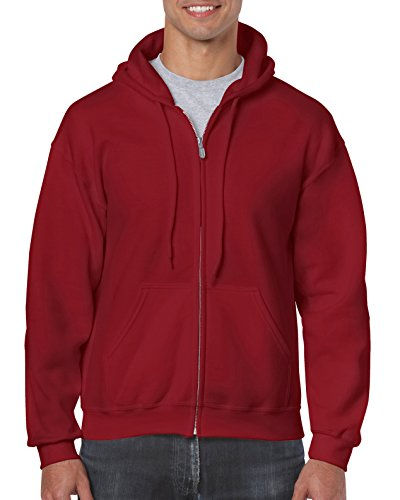 Gildan Men's Fleece Zip Hooded Sweatshirt Cardinal Red (Red Zipper Sweatshirt)