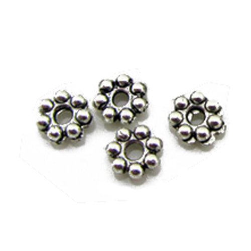 SODIAL(R) 6mm Flower rondelle Daisy Beads Antiqued Silver Cast Pewter Metal Beads for Bracelets DIY Jewelry Making About 100pcs - Cast Metal Beads