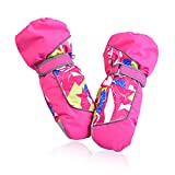 HUO ZAO Girls Cold Weather Waterproof Snow Mitten Winter Warm Gloves for Snowboard Skiing (Blue) M