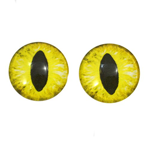 20mm Cat Glass Eyes in Yellow Fantasy Dragon for Doll Sculptures or Jewelry Making Set of 2