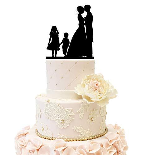 Wedding Anniversary Family Cake Topper Bride Groom couple with 2 kids (Girl & Boy (Black))]()
