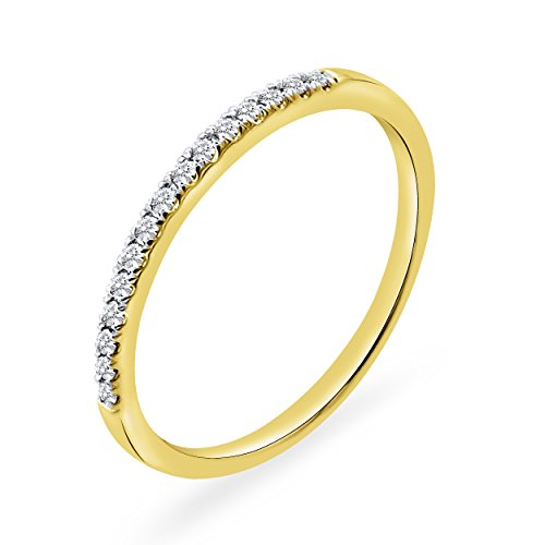 0.10 CT. Round Natural Diamond Wedding Band 10K Yellow Gold For Women