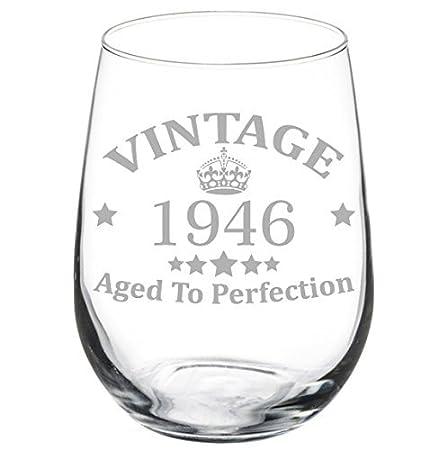 Copa de vino de copa de vino 71 cumpleaños vintage añejado a ...