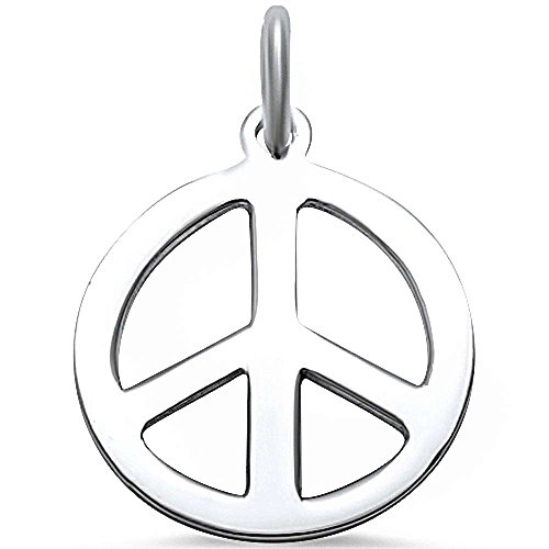 Sterling Silver Peace Bracelet - Plain Peace Sign .925 Sterling Silver Pendant Charm for Bracelet Colors Available! (sterling-silver)