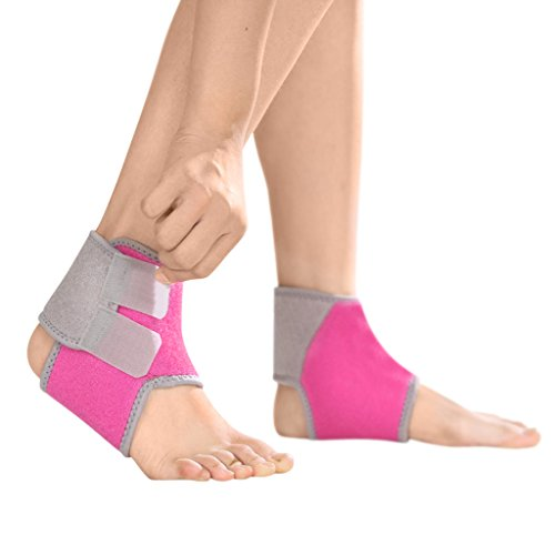 2 PCS Kids Children Ankle Brace Protector Adjustable AnkleTendon Compression Brace Foot Support Stabilizer for Basketball Soccer Volleyball Football & Baseball, Rose Red, Small