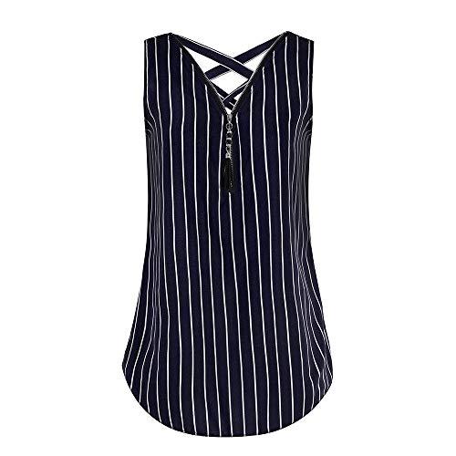 Women Stripe Tops, LIM&Shop Ladies Sleeveless V-Neck Loose Crop Top Zipper Cross Back Hem Layed Cami Tanks Dark Blue