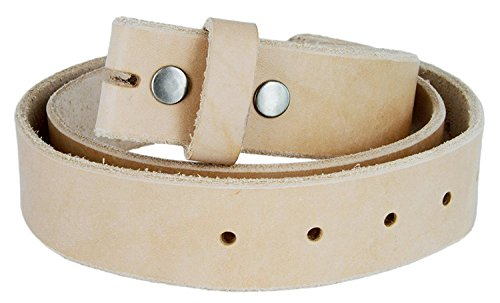 (Mens Hand Crafted Made In USA Heavyweight Natural One Piece Cowhide Leather Belt Strap With Slot Hole (1.5