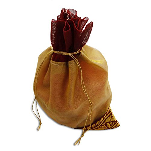 Amarillento Brocade Sari Tela De Color Beige Bolsas De Regalo De Boda De La Joyería India Bolsa De Embrague Beige