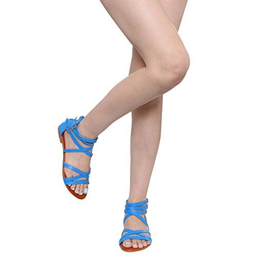 Spirit Moda Fb64 Vrouwen Strappy Kris-kras Multi Gesp Gladiator Platte Sandalen, Kleur: Blauw, Maat: 5,5