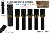 Venum wheel accessories 5 Pc + 1 Key Socket | 12x1.25 Black Spline Tuner Lug Bolts | Conical Seat | 40 MM Extended Length | Compatible with Alfa Romeo Chrysler Dodge Fiat Jeep & More