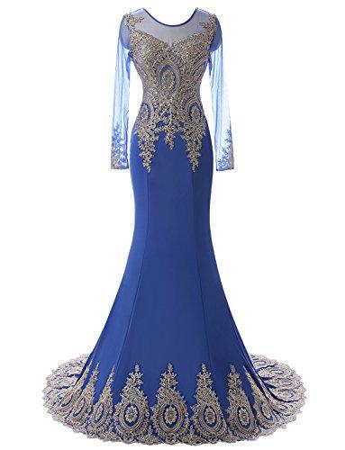 Erosebridal Abendkleider Lange Meerjungfrau Applikationen Ärmel Ballkleid Königsblau Gold rxRwHrTPn