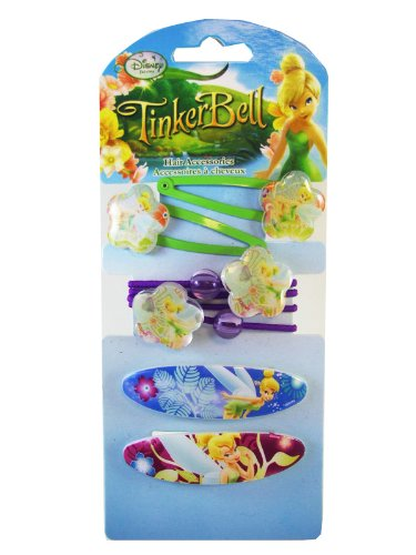 Tinker Bell Hair Accessories Set - Disney Tinkerbell Ponytails Barrettes Clips Set (6 Pieces) ()
