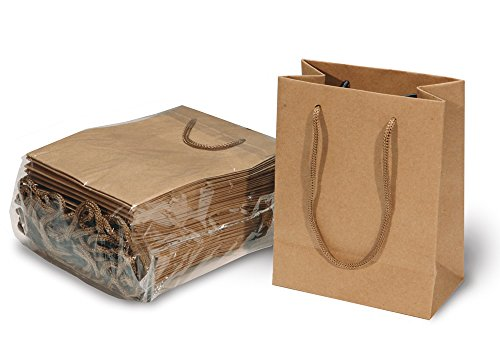 Brown Paper Kraft Bags with Handles for Gifts, Arts & Crafts