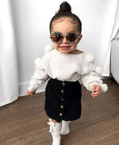 Black Pencil Skirts Fall Clothing Set Kids Baby Girl Winter Skirt Outfit Set Ball Ribbed Knit Sweater Shirt Tops
