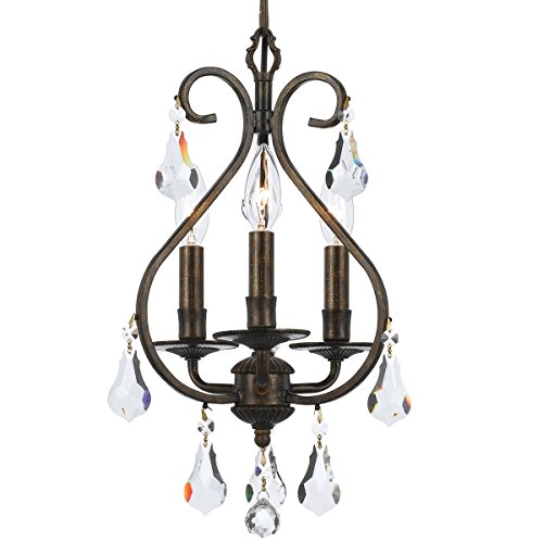 Crystorama 5013-EB-CL-MWP Crystal Accents Three Light Mini Chandelier from Ashton collection in Bronze/Darkfinish,